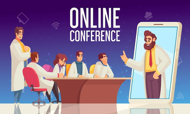 Il gruppo di composizione della conferenza medica piatta del partecipante si siede in ufficio e ascolta l'oratore online