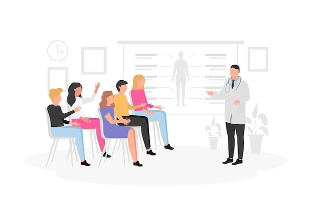 평면 의료 회의 그림