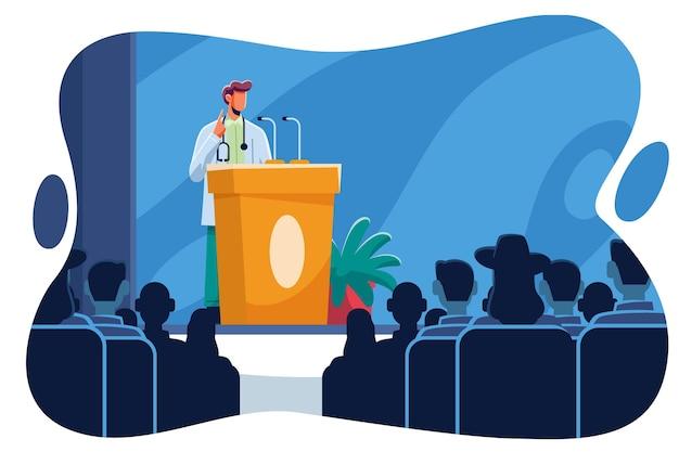 Плоская иллюстрация медицинской конференции
