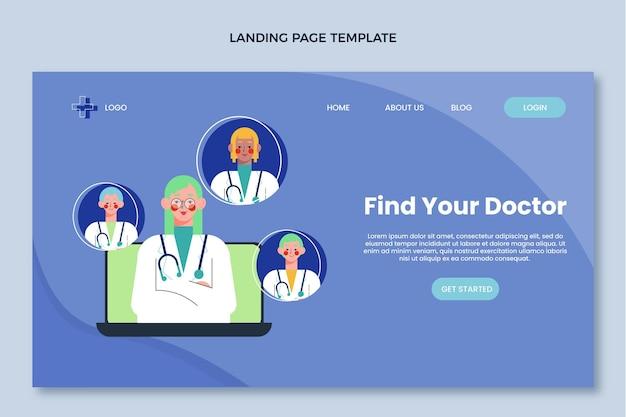 Плоский медицинский дизайн медицинской целевой страницы