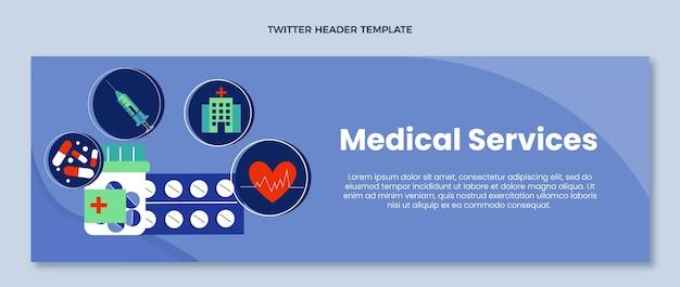 Intestazione twitter medica di design piatto medico