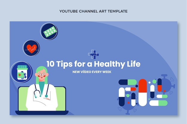 Плоский медицинский дизайн медицинский канал youtube