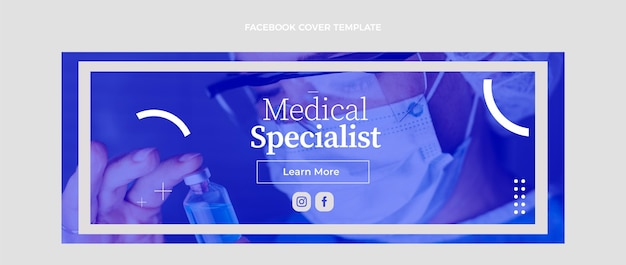 Flat medical facebook cover template