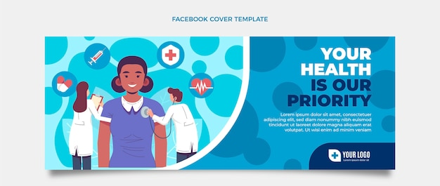 Плоская медицинская обложка facebook