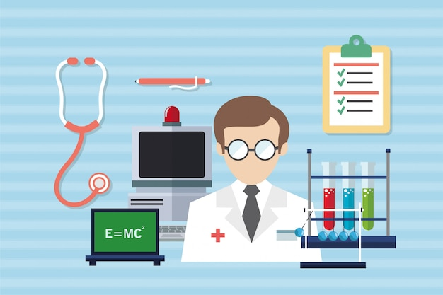 Flat medical and healthcare vector illustration
