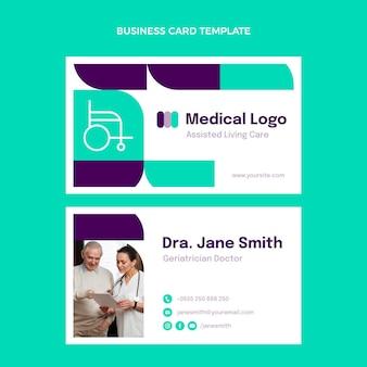 Flat medical horizontal business card template