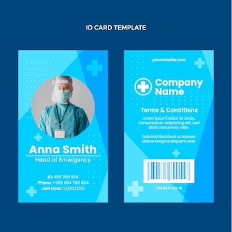 Flat medical id card template