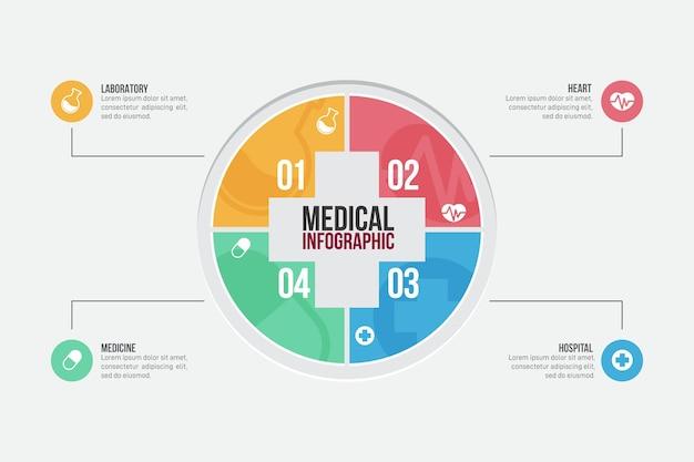 평면 의료 인포 그래픽 개념