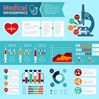 Flat medical infographics template