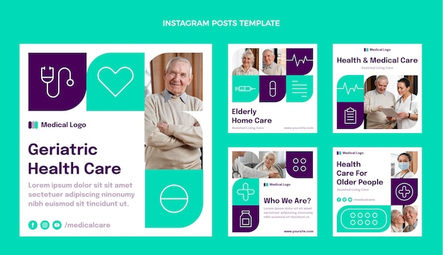 Flat medical instagram post template