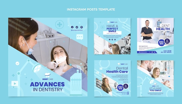 Flat medical instagram posts collection