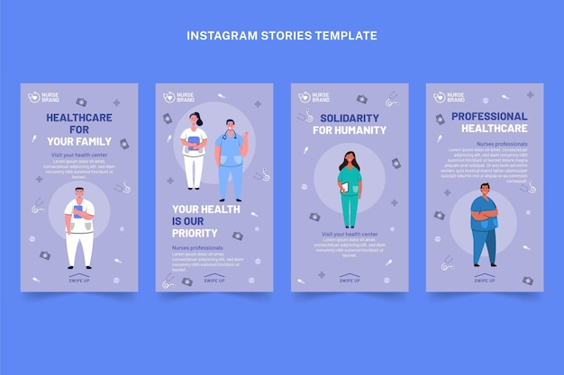 Flat medical instagram stories