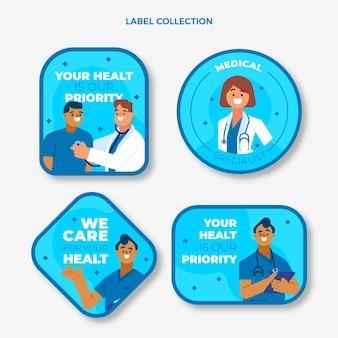 Коллекция плоских медицинских этикеток