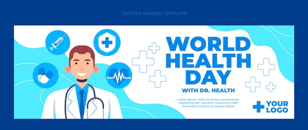 Плоский медицинский заголовок twitter