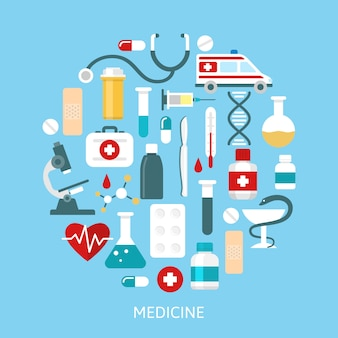 Плоская медицина круглый значок набор