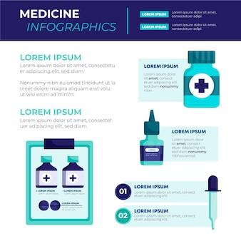 Flat medicines infographic with illustration