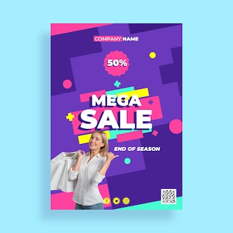 Flat mega sale poster template with photo