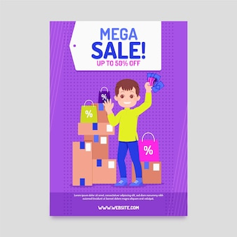 Flat mega sale poster template