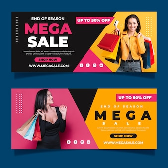 Flat mega sales banners with photo
