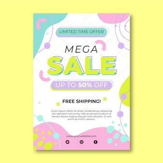 Flat mega sales poster template