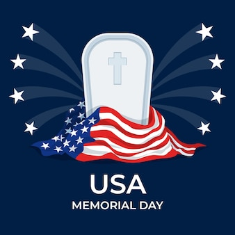 Flat memorial day illustration