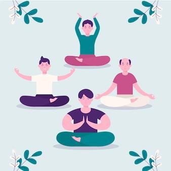 Flat men meditating together