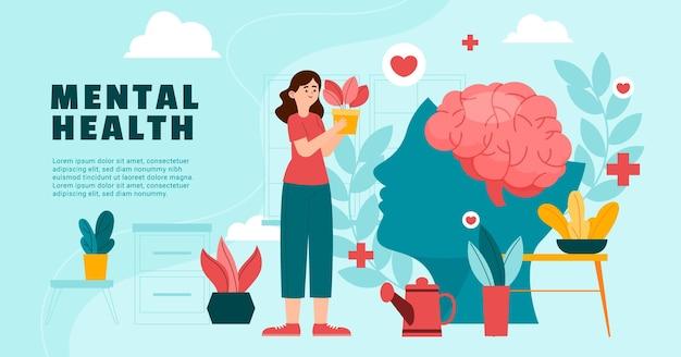 Плоский шаблон сообщения facebook о психическом здоровье