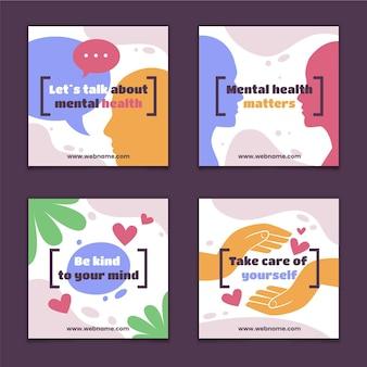 평평한 정신 건강 인스타그램 게시물