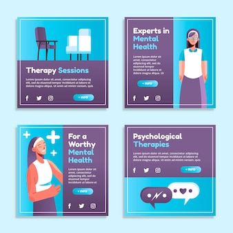Flat mental health instagram posts collection