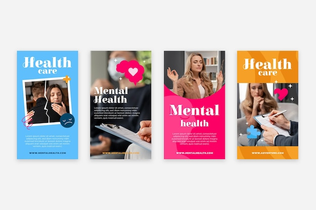 Flat mental health instagram stories collection with photo