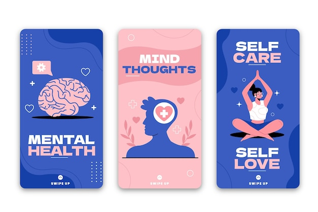 Flat mental health instagram stories collection