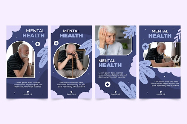 Flat mental health instagram stories with photo