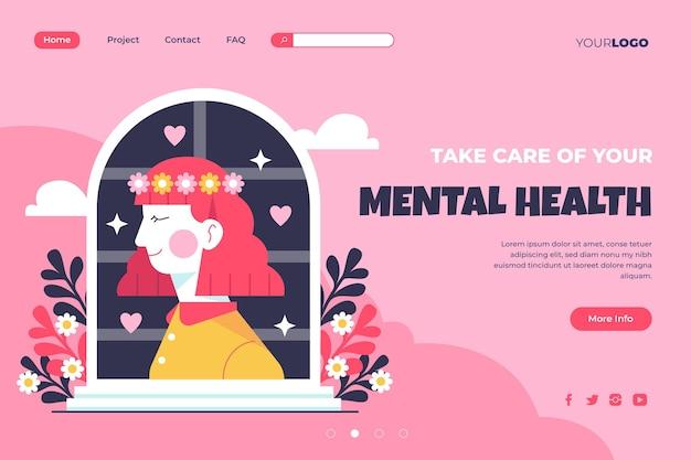 Плоский шаблон целевой страницы психического здоровья