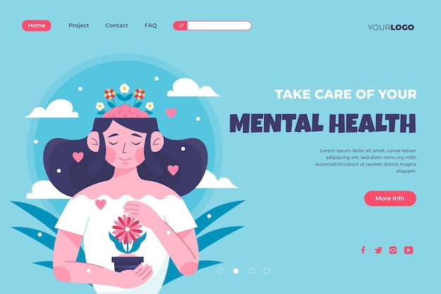Flat mental health landing page template