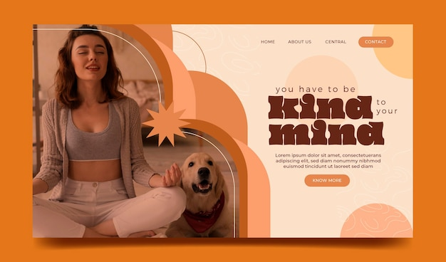 Flat mental health landing page with photo