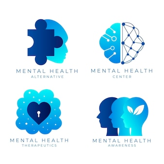 Flat mental health logo collection