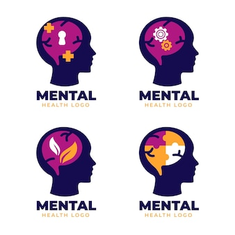 Flat mental health logo pack