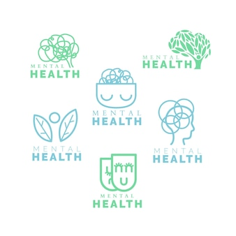 Flat mental health logo set