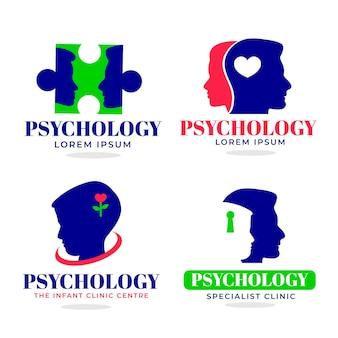 Flat mental health logo set