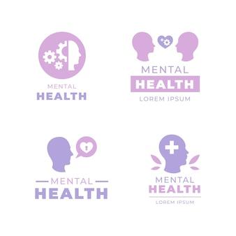 フラットメンタルヘルスロゴテンプレートコレクション
