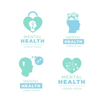 Flat mental health logo template collection