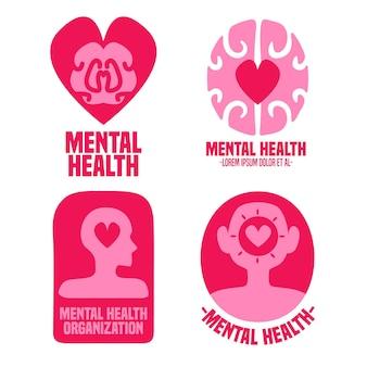 Набор плоских шаблонов логотипа психического здоровья