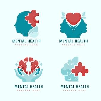 Flat mental health logos template Free Vector