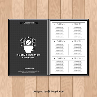 Flat menu template for a cafe