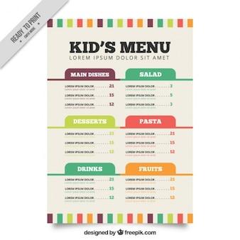 Modello di menu piatto per i bambini