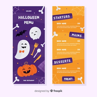 Flat menu template with halloween pattern