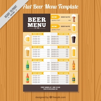 Flat menu with different beverages