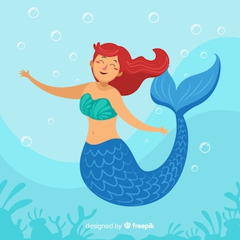 Flat mermaid background