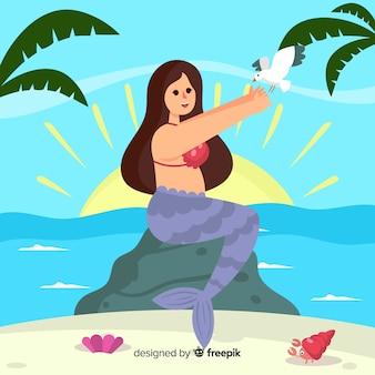 Flat mermaid background