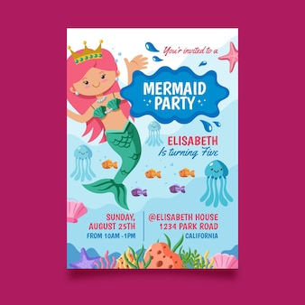 Шаблон приглашения на день рождения с русалкой